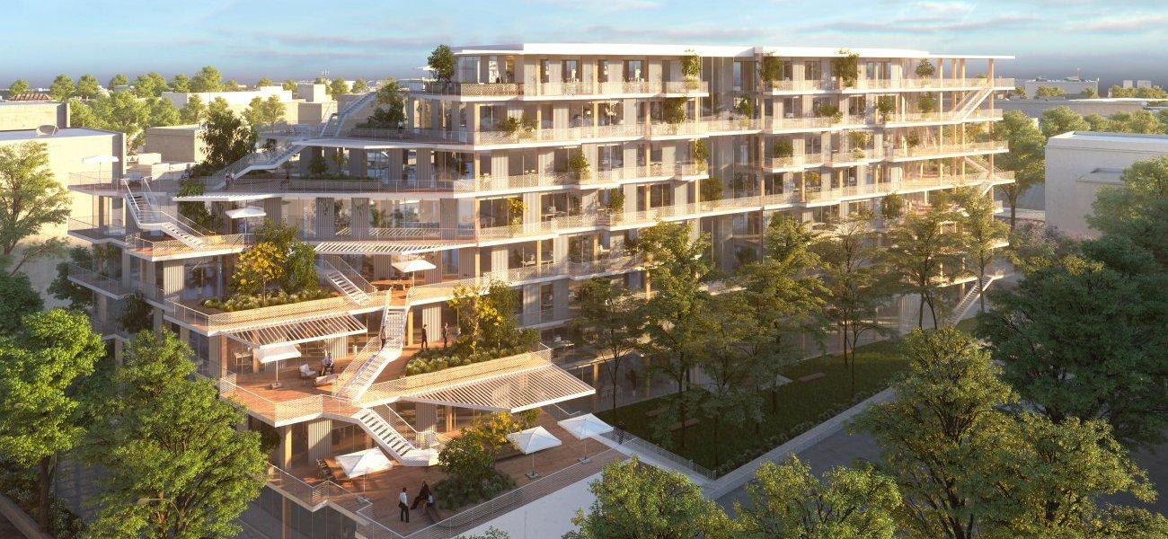 <b>Prix de l'immobilier d'entreprise : WoodWork, à Saint-Denis par Woodeum.</b> C'est en Seine-Saint-Denis que l'on trouve cette opération « Woodwork », une construction bois préfabriquée en atelier pouvant accueillir 788 postes de travail, sur 5 000 m², près des transports en commun. Livraison en 2020 pour ce projet pensé par les architectes Laisné-Roussel.